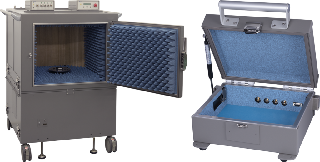 電磁波放射測定チャンバーと5G(28GHz)シールドボックス